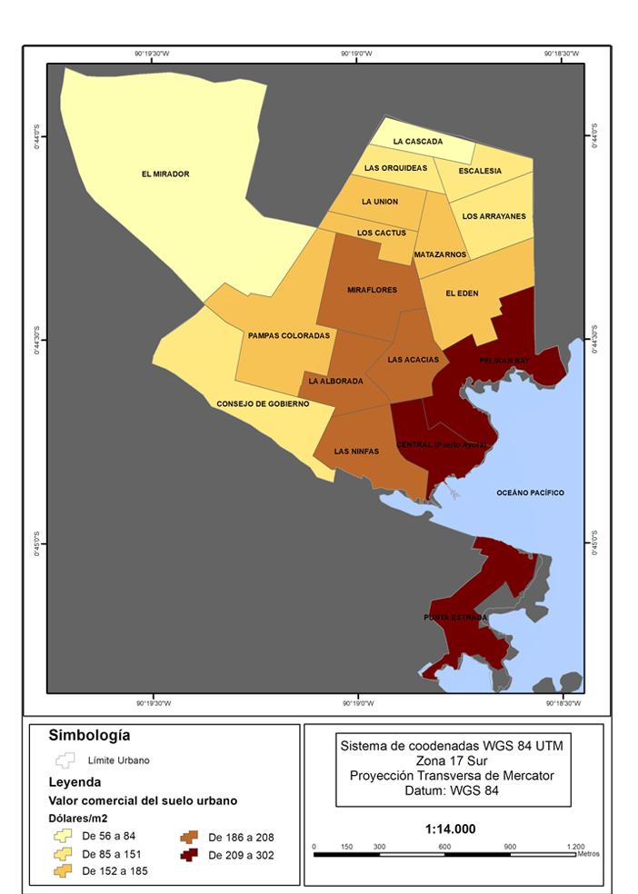 Figura 3. Mapa de valor de uso de suelo por barrio en Puerto Ayora